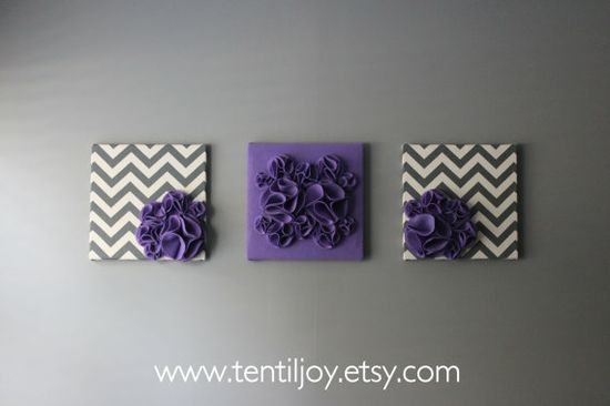 "Three Wall Art Canvases, Purple and Gray Chevron Nursery Wall Art, 3D Wall Decor, Felt 12x12"" Wall Hangings"