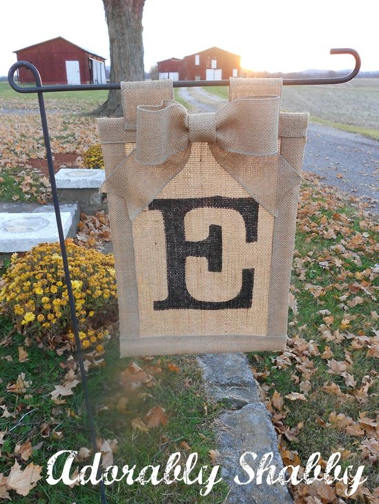 Personalized Burlap Flag with Burlap Bow- Double Sided LOVE