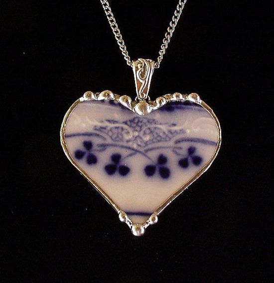 Broken China Jewelry Heart Pendant by Laura Beth Love antique flow blue china with shamrock or clover design