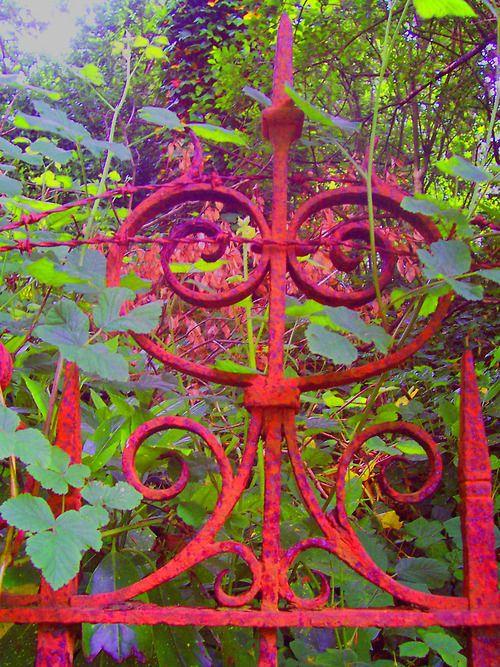 garden gate, red is pretty