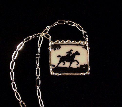 Antique equestrian broken china necklace