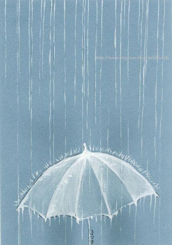 Rain Rain --ORIGINAL Watercolor painting 9x6.5 via Etsy