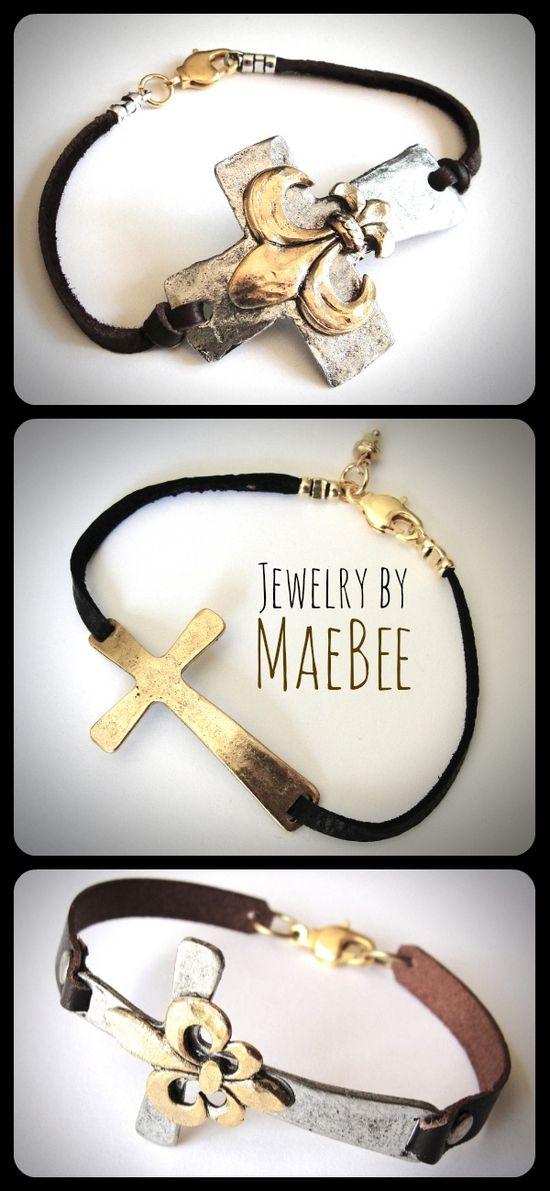 Sideway Cross bracelets on leather from JewelryByMaeBee on Etsy!