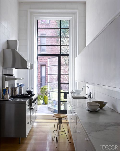 narrow + white kitchen