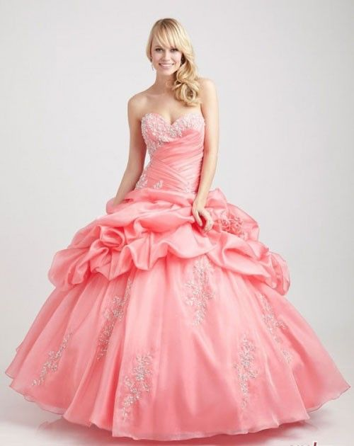 Pink Sweetheart Ball Gown Handmade Flower Appliqued Quinceanera Dresses