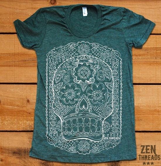 Sugar Skull tshirt - Zenthreads on Etsy $17