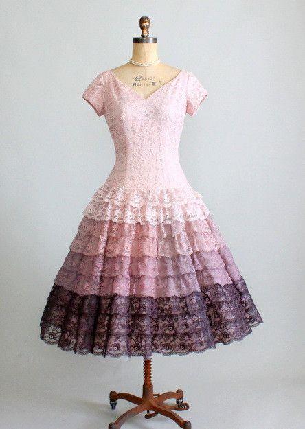 Vintage 1950s Ombre Lace Party Dress