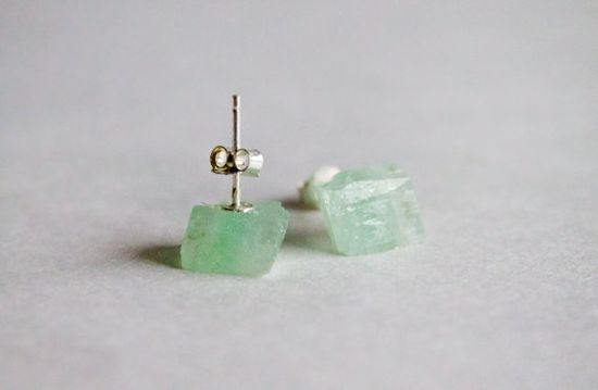 Green calcite raw stud earrings   Green cube by CraftsGardenOfZen, $28.00