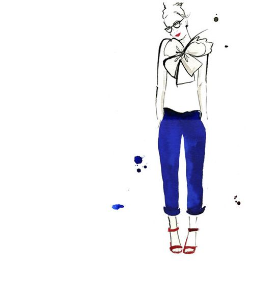LOVE these. Watercolor Fashion Illustration  Nerdy Chic by JessicaIllustration, $25.00