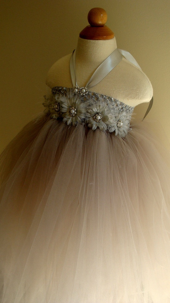Flower girl dress, silver, gray tutu dress, daisies, baby tutu dress, toddler tutu dress, newborn-24m,3t,4t,5t, birthday,wedding. $74.00, via Etsy.