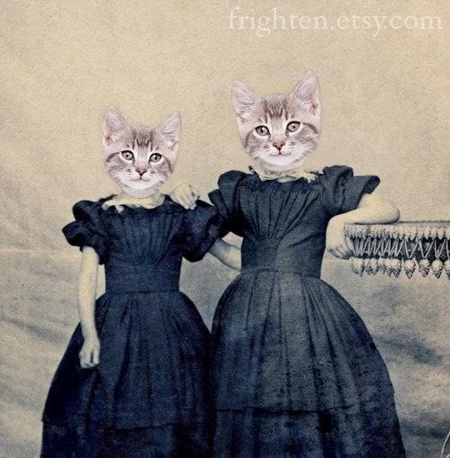 Cat Art - Kitten Girls