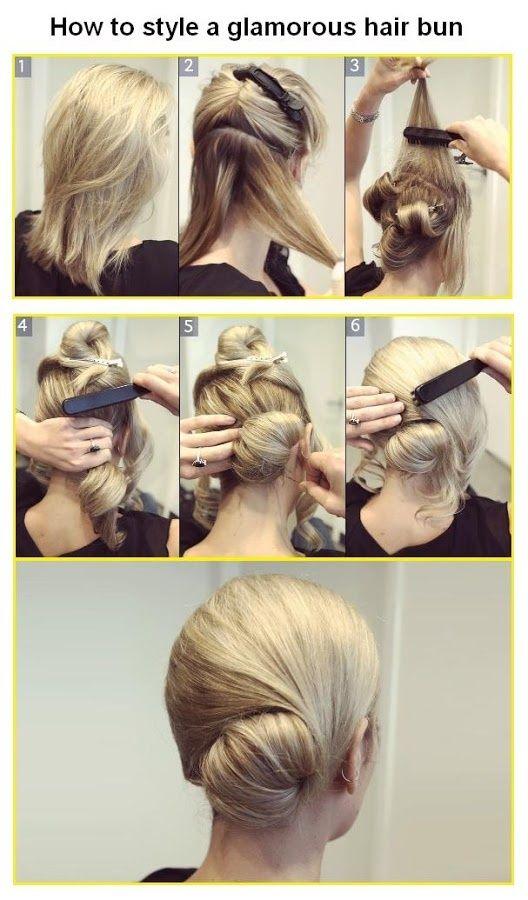 How to Make a glamorous hair bun.