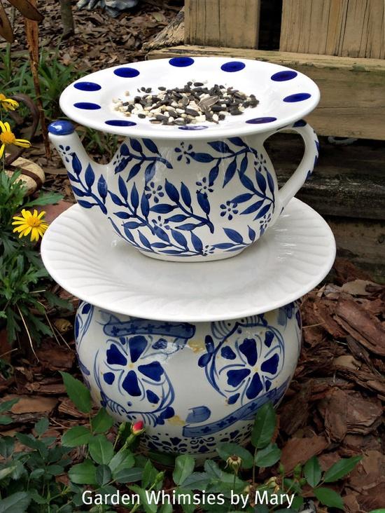 Garden Totem Blue and White Centerpiece by GardenWhimsiesByMary, $55.00