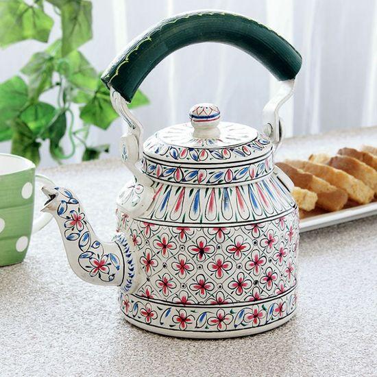 Kaushalam Tea Kettle White & Green - FabFurnish.com-Kitchen-Decor