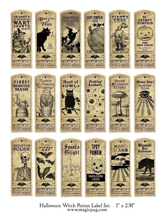 Vintage Halloween Label: Halloween Witch Potion Labels