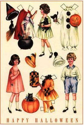 Vintage Halloween Outfits for Paper Dolls