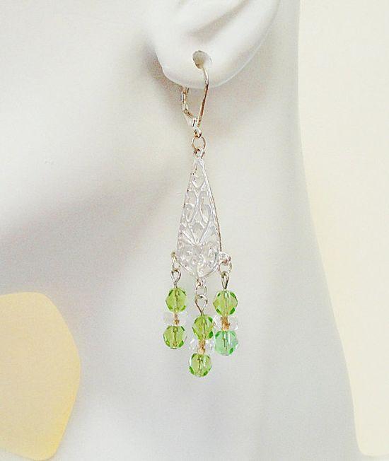 10% off Peridot Green Crystal Silver Teardrop Chandelier by BijiBijoux, Mothers Day Gift