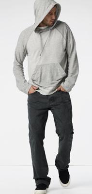 cold spring mornings, light grey/white hoodie, grey pants / men fashion
