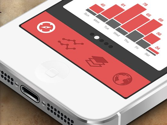 Black and Red Themed iPhone App Analytics Menu UI Design
