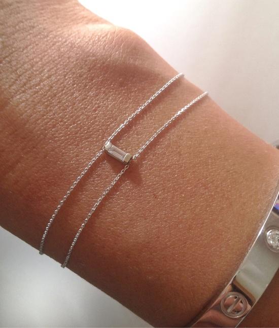 Delicate 14K White Gold and Diamond Bracelet via Etsy