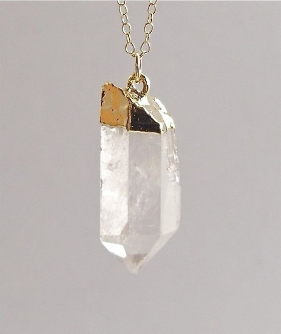 Gold Dipped Quartz Point Necklace