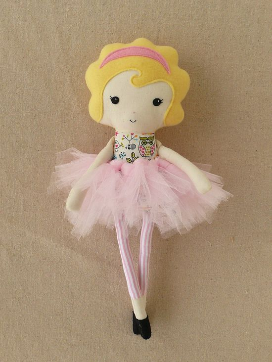 Fabric Doll Rag Doll with Pink Tutu. $30.00, via Etsy.