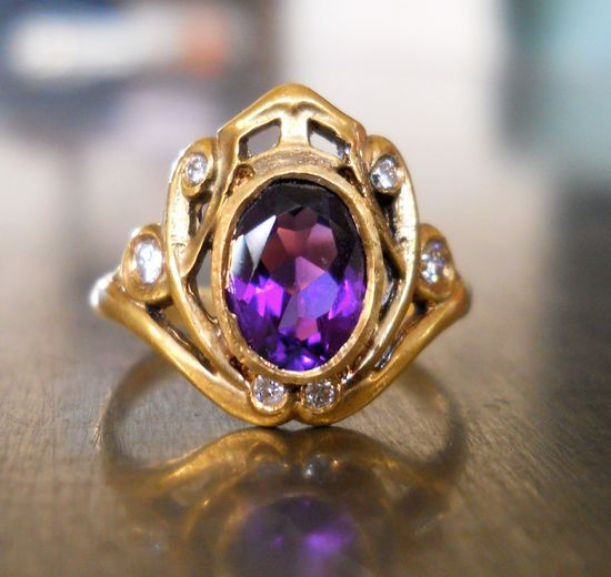 Art Nouveau Amethyst and Diamond 18k Ring