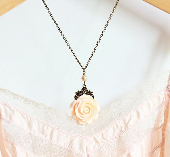 Pale Peach Flower Necklace Bridesmaids Gifts by JacarandaDesigns