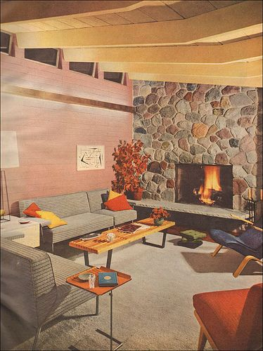 1953 Modern Living Room with Stone Fireplace. Better Homes & Gardens