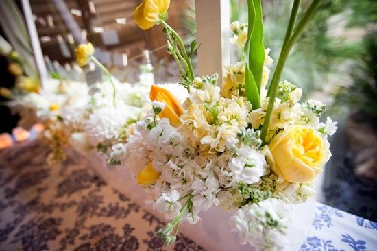 long floral arrangement.