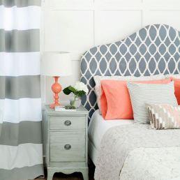 contemporary design bedroom grey and coral