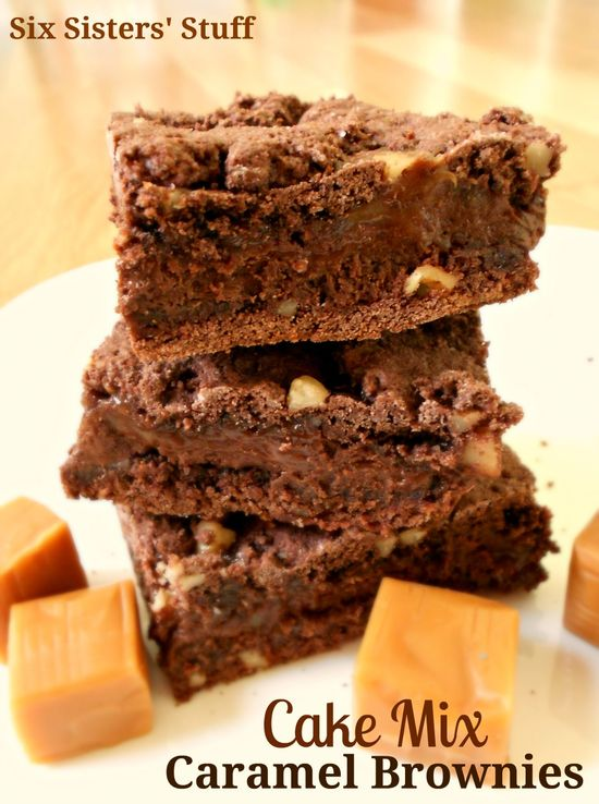 Cake Mix Caramel Brownies from sixsistersstuff.com. So delicious you would never know they came from a cake mix! #brownies #dessert #cakemix