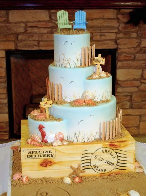 beach wedding cake decorations