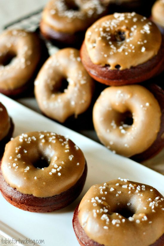 Chocolate Donuts with Salted Caramel Icing » Table for Two. (Scroll all the way down for Recipe).