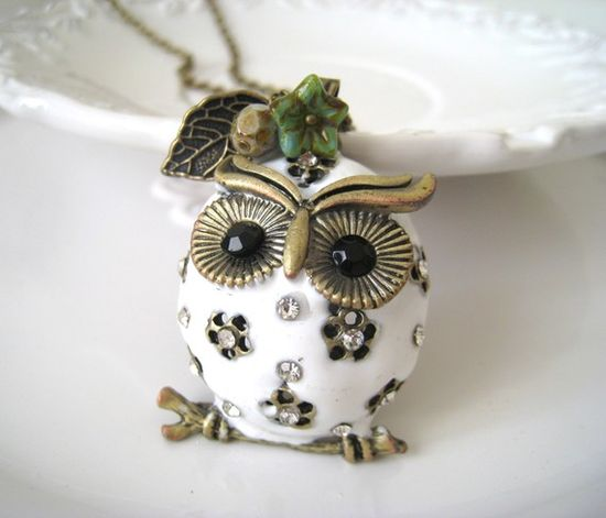 White Puffed Owl Necklace by lunashineshine on Etsy, $25.00