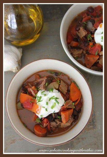 Pot Roast Chili is a savory soup plus the perfect way to use up leftover Pot Roast!  by whatscookingwithr... #recipes #soup #beef