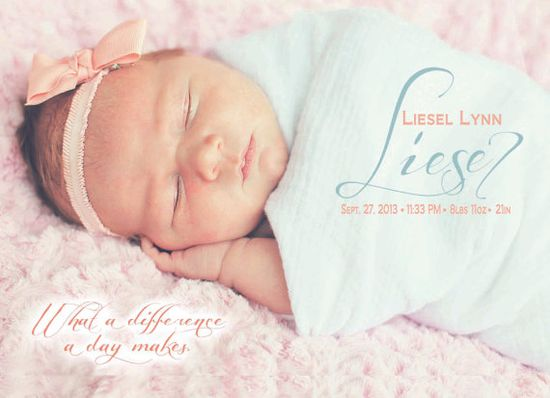Adorable baby girl birth announcement with photo! Baby Girl What A Difference A Day Makes by distinguishingdetail