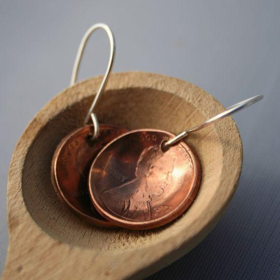 Handmade Lucky Penny Earrings.