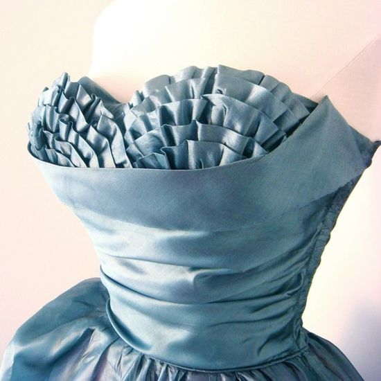 50s Blue with Bust Ruffles