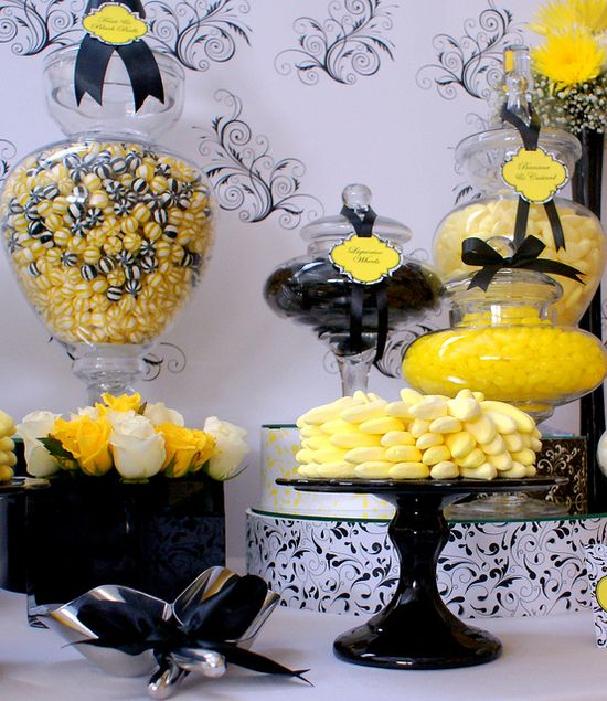 Black, White & Yellow Wedding Candy Buffet by The Couture Candy Buffet Company, via Flickr