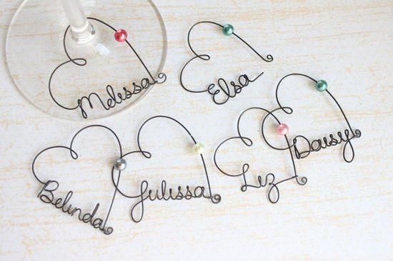 Personalized Wine Glass Charms - Bridal Party Wine Glass Charms, $7.00, via Etsy.