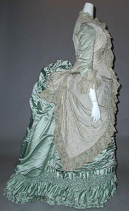 c.1880 French dress in ice blue silk