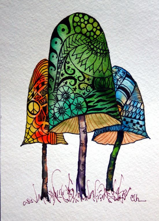 Zentangle art, original art, hand painted watercolor, mushrooms, handpainted artwork, zentangle