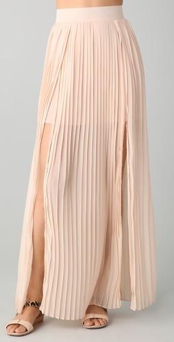 double slit pleated maxi skirt.