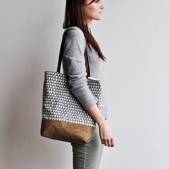 TOTE  grey triangle by bookhouathome on Etsy, $70.00