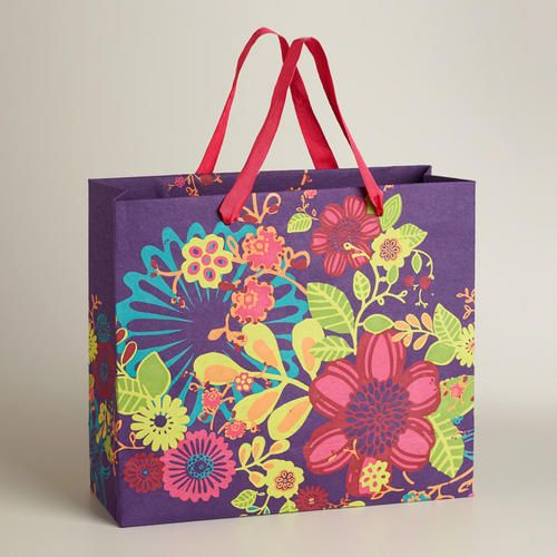 Extra-Large Purple Floral Handmade Gift Bag