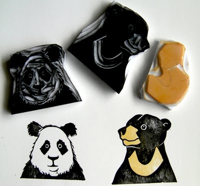 Panda and Sun Bear Hand carved rubber stamps