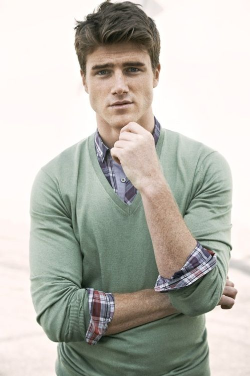 Sweater and button down. #plaid #v-neck #green #plaid #style #men