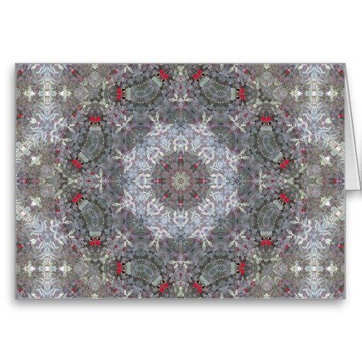 Gray & Red Mandala Greeting Card