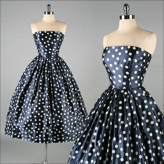 Vintage 1950s David Hart Polka Dot Dress